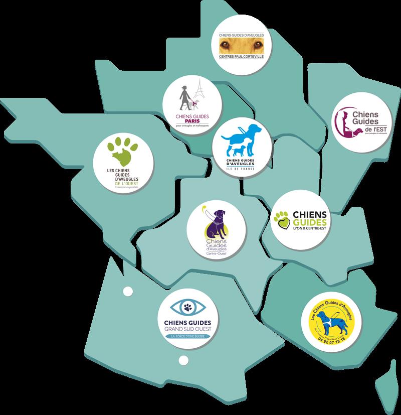 Carte de France avec le logo de toutes les écoles de chiens guides
